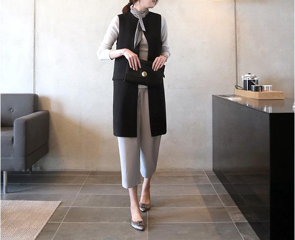 40代ファッション サイドスリットオープンロングベスト