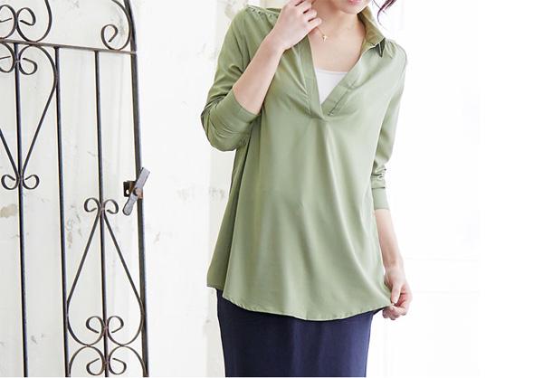 40代ファッションの2wayスキッパーとろみシャツ