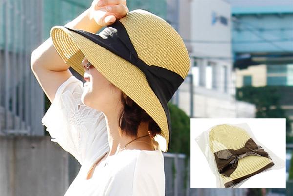 40代ファッションのお洒落な麦わら帽子