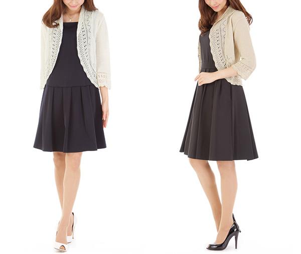 40代ミセスファッションの透かし編みボレロ