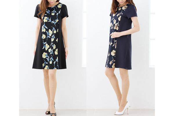 40代ミセスファッションの花柄ネイビーワンピ