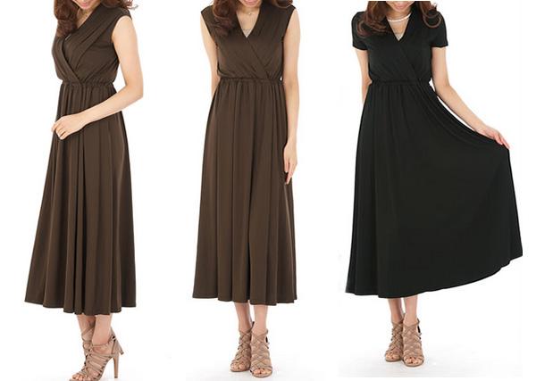 40代ミセスファッションのエレガンスマキシワンピース