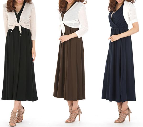 40代ミセスファッションのマキシワンピースコーデ