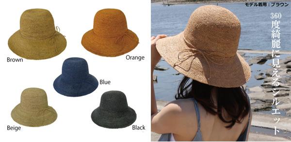 ラフィア100%使用の麦わら帽子