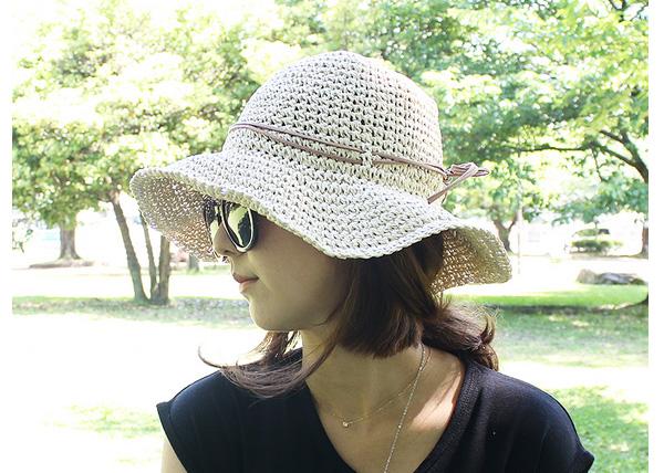 ゴム紐付きで便利な麦わら帽子