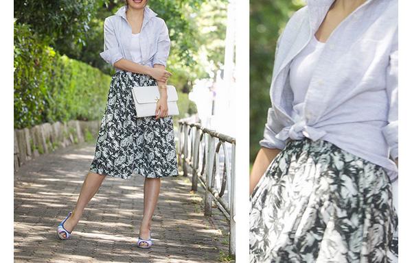 40代ミセスファッションのオーガニックリネンシャツ