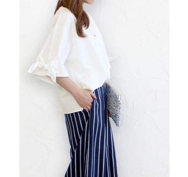 40代ミセスファッションのスパンポプリン袖リボンブラウス