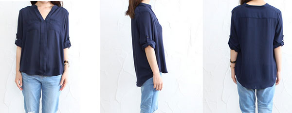 40代ミセスファッションのとろみシャツ