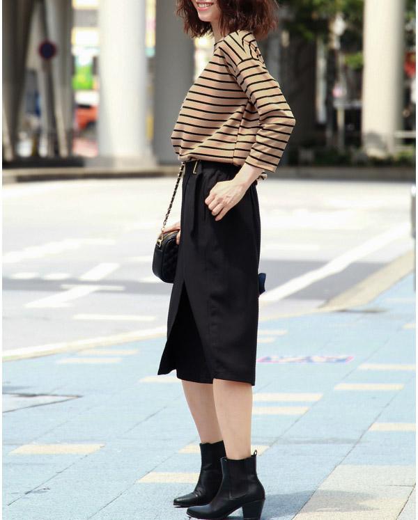 40代ファッションの長袖カットソー