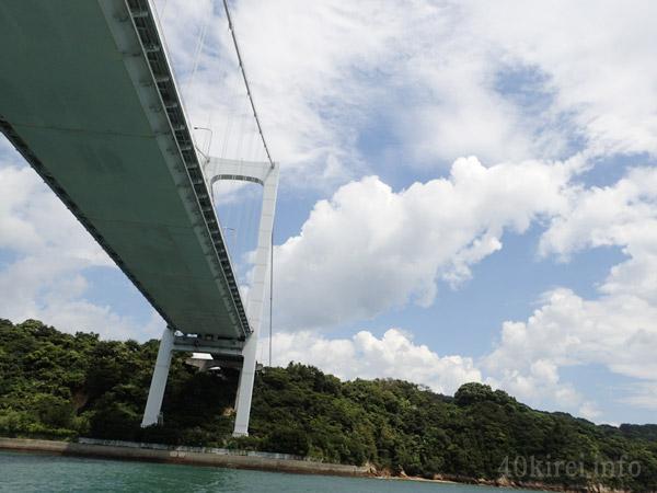 潮流体験の船から見た伯方・大島大橋