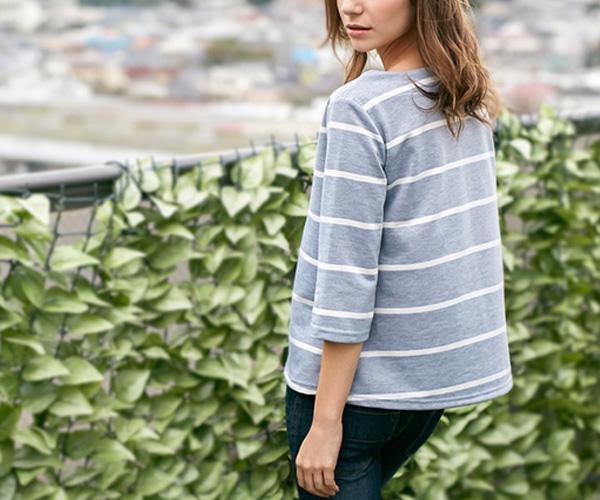 袖丈が選べるカラーボーダーTシャツ