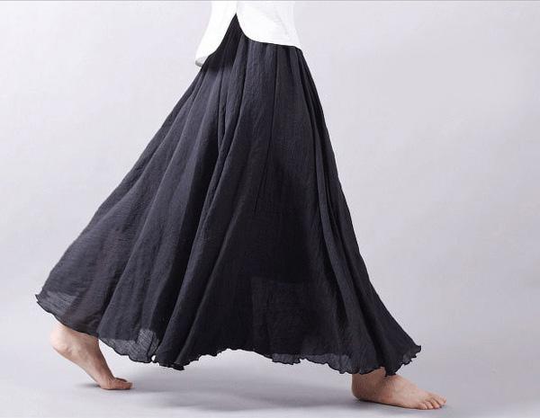 涼しい綿麻混ゆるスカート